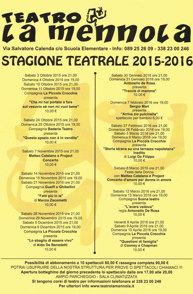 Cartellone Stagione Teatrale 2015/2016